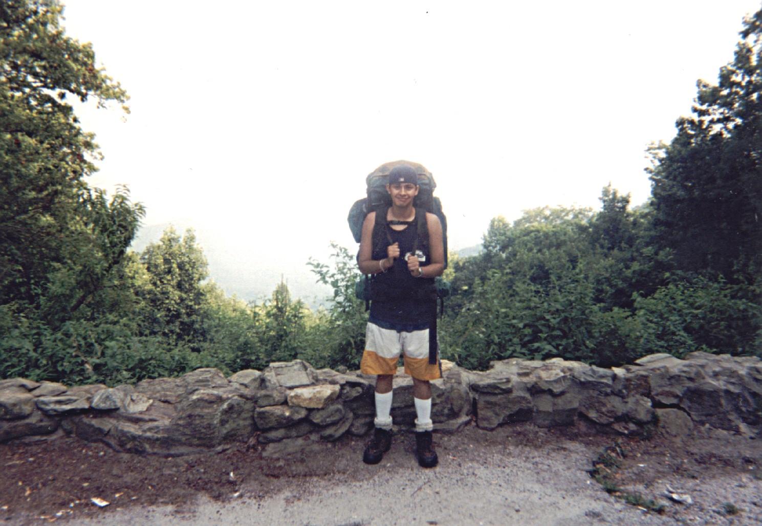 Juan on the Appalachian Trail. Link to GA Appalachian Trail Club.